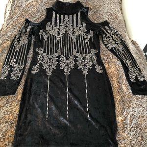 Sexy black velvet studded dress